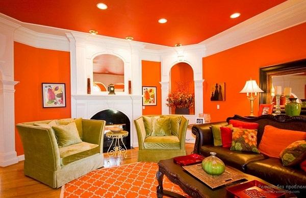 значение оранжевого цвета в интерьере