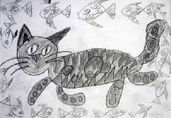 детский рисунок в черном цвете